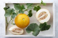 Melon et vignes frais de yelllow dans le plateau en bois blanc Photo libre de droits