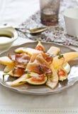 Melon Figi Prosciutto i Mozzarelli sałatka, fotografia royalty free