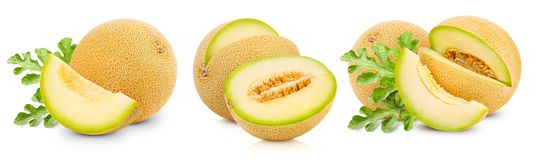 Melon fruits collection. And half Isolated on white background stock image