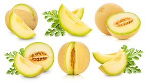 Melon fruits collection. And half Isolated on white background stock photography