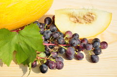 Melon and grapes. Stock Photography