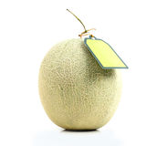 Melon with green label tag Royalty Free Stock Photos