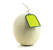 Melon with green label tag Royalty Free Stock Photography