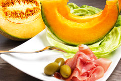 Melon with ham Royalty Free Stock Images