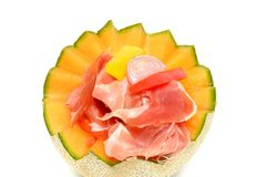 Melon with ham Royalty Free Stock Image