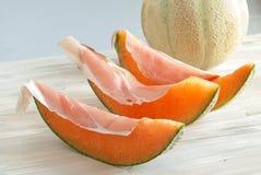 Melon and Ham, italian food. Concept of italian food, melon and ham Royalty Free Stock Photos