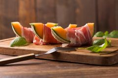 Melon with ham Royalty Free Stock Photos
