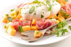 Melon, ham and mozzarella. Salad Royalty Free Stock Photography