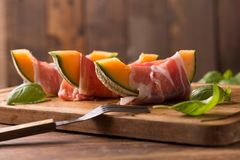 Melon with ham Stock Image