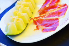 Melon and ham - spanish traditional snack Stock Images