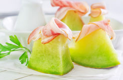 Melon and ham Royalty Free Stock Images
