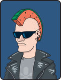 Melon Head. Cartoon illustration of a punk rocker with a slice of watermelon forming a Mohawk haircut Stock Images