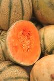 Melon heap on open market Stock Photos