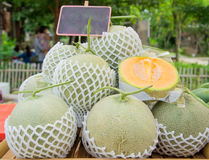 Melon heap with paper label. Stock Photography