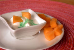 Melon with ice cream Royalty Free Stock Image