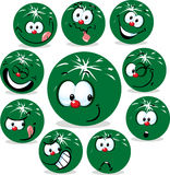 Melon icon cartoon with funny faces isolated Royalty Free Stock Photography