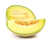 Melon, melonów plasterki na białym tle Zdjęcie Stock