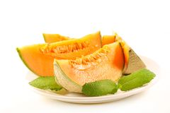 Melon mennica i plasterki zdjęcia stock
