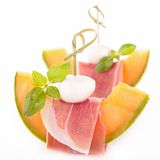 Melon,mozzarella and prosciutto Stock Photo