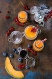 Melon och blåbärsmoothie royaltyfri foto