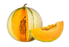 Melon och skiva som isoleras på en vit bakgrund Royaltyfri Fotografi