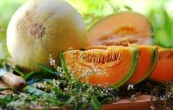 Melon och skivor royaltyfri bild