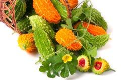 Melon ou momordica amer dans un panier en osier d'isolement sur le fond blanc Images stock