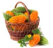 Melon ou momordica amer dans un panier en osier d'isolement sur le fond blanc Images libres de droits