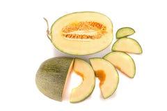 Melon på vit Fotografering för Bildbyråer