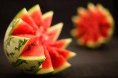 melon pokrajać woda Obrazy Royalty Free
