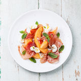 Melon and prosciutto ham salad Royalty Free Stock Images