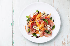 Melon and prosciutto ham salad Royalty Free Stock Photography