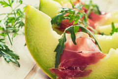 Melon and prosciutto Royalty Free Stock Images