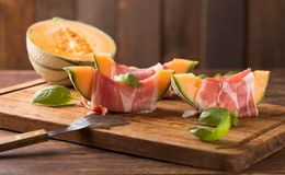 Melon with ham Royalty Free Stock Photo