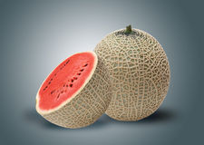 Melon and red water melon inside Royalty Free Stock Photo
