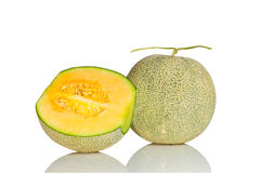 Melon with reflection on white background Stock Photo