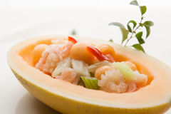 Melon seafood boat Royalty Free Stock Image