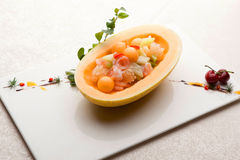 Melon seafood boat Royalty Free Stock Photography