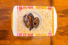 Melon Seeds in tray with dried fish to prepare Egusi Soup stock photos