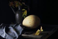 Melon on a silver platter Stock Photos