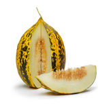 Melon Slice. Yellow Melon on the white background stock photography
