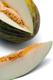 Melon. Slice of green melon. White background Royalty Free Stock Photo