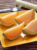 Melon slice shape jelly dessert Royalty Free Stock Photo
