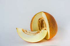 Melon sliced on a white background Royalty Free Stock Photo
