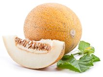 Melon with slices and leaves Stock Photo