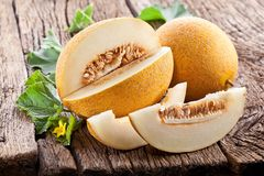 Melon with slices and leaves. Stock Image