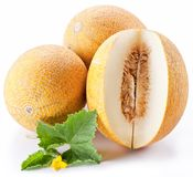 Melon with slices and leaves Royalty Free Stock Image