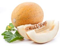 Melon with slices and leaves Stock Photos