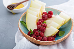 Melon slices served with raspberry and honey Stock Images