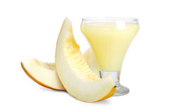 Melon smoothie. A delicious melon smoothie isolated over white Royalty Free Stock Image